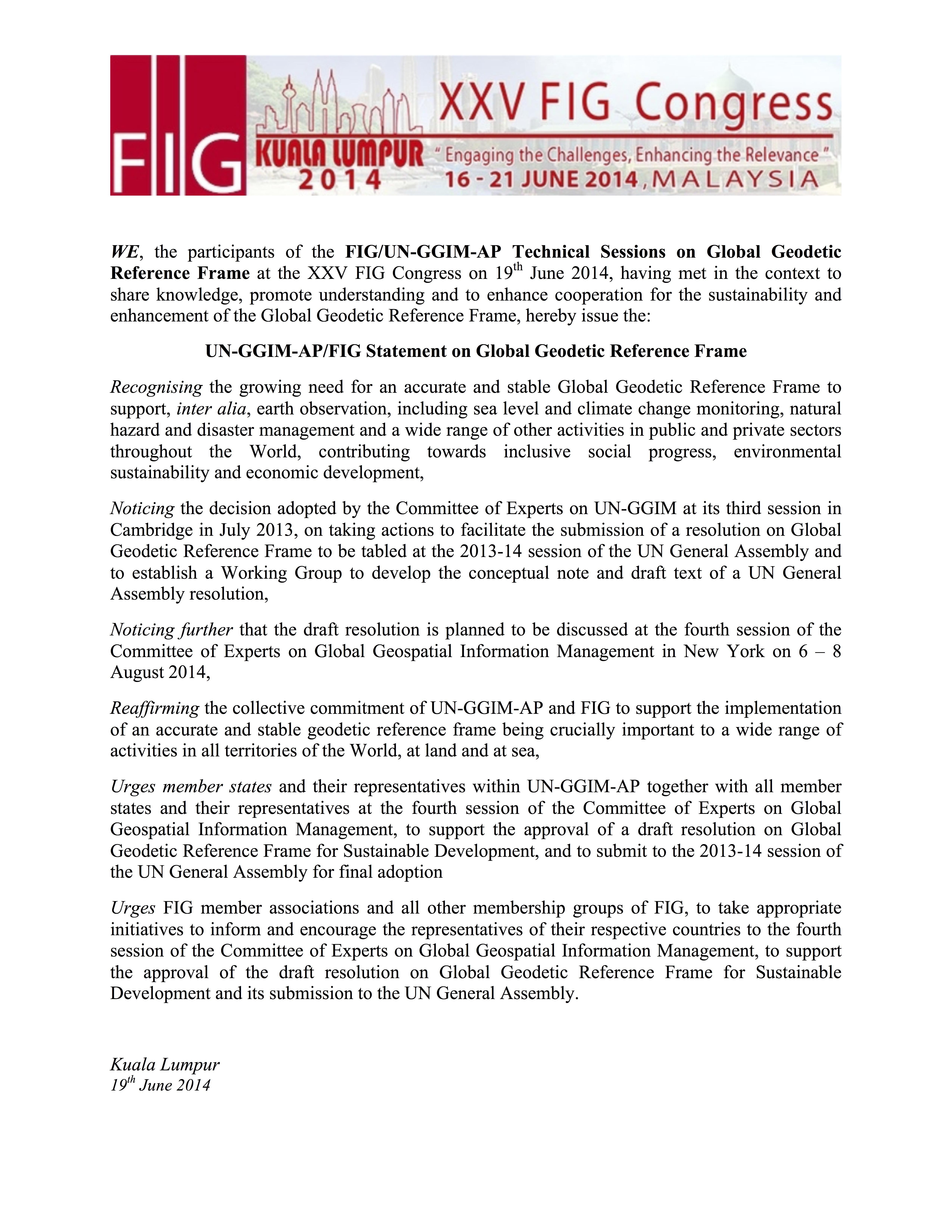 un ggim apfig statement on global geodetic reference frame